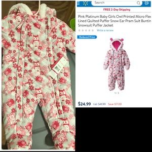Pink Platinum Jackets & Coats - New with tags 3-6 month snow suit